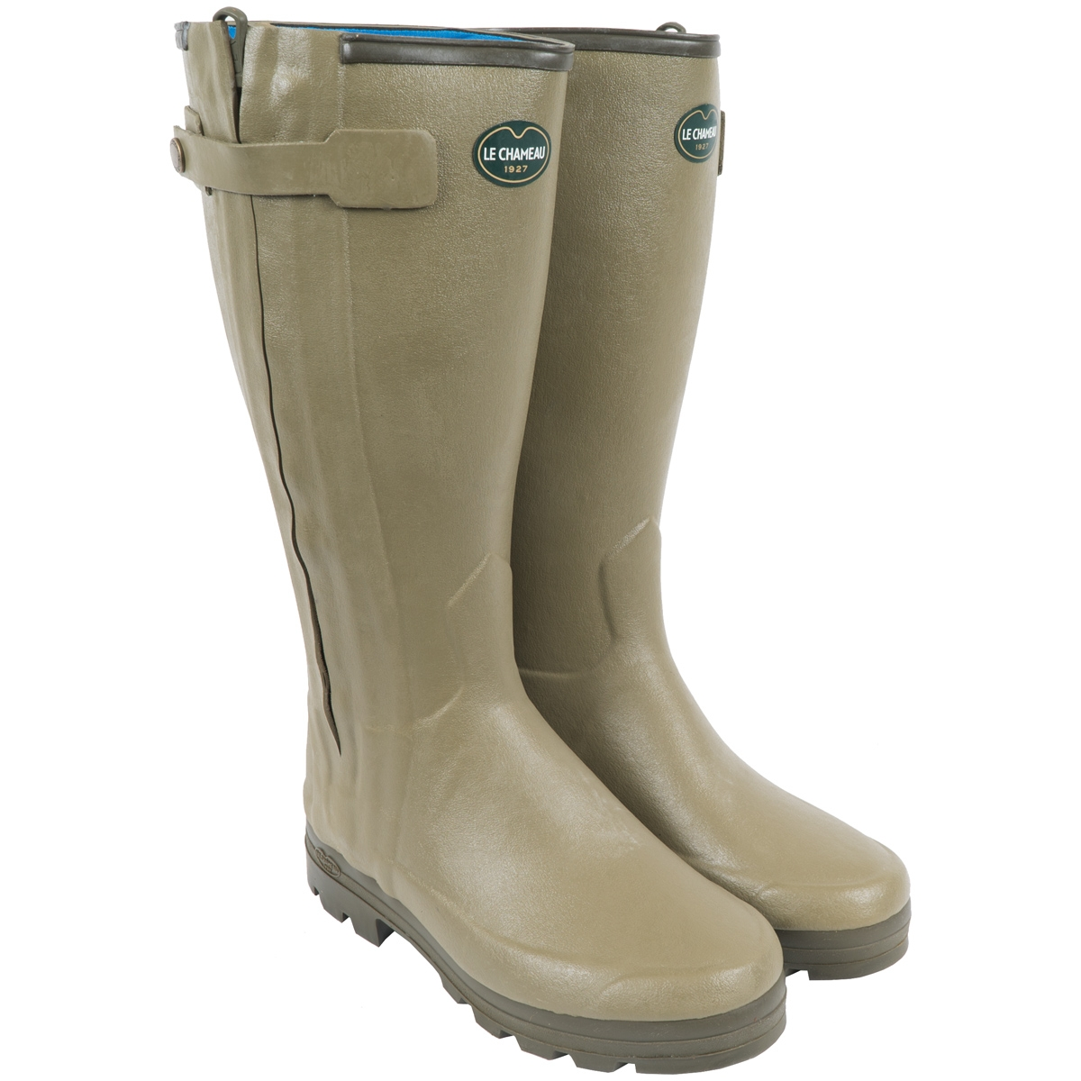 classic chic best place for latest style Ladies Le Chameau Chaseur Neoprene Lined Wellington Boots Green Ladies 39CM  Calf - Braces of Bristol